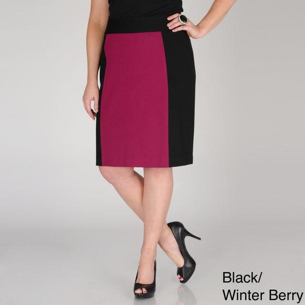 Grace Elements Women's Plus Colorblock Pencil Skirt