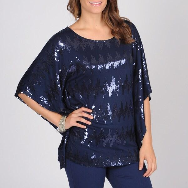 Grace Elements Women's Sequin Embellished Kimono Sleeve Top
