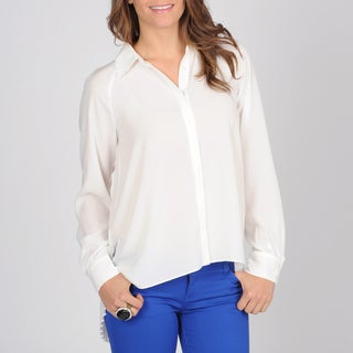 Grace Elements White Women's High-low Pleated Blouse