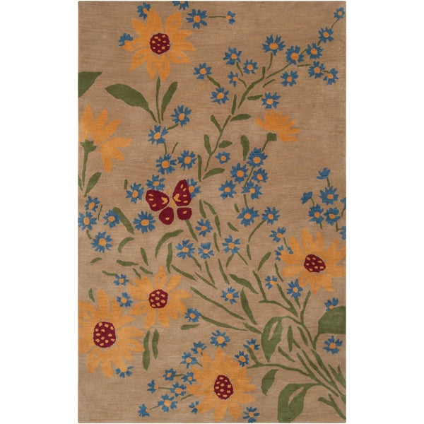 Paule Marrot Hand-tufted Cross Floral New Zealand Wool Rug