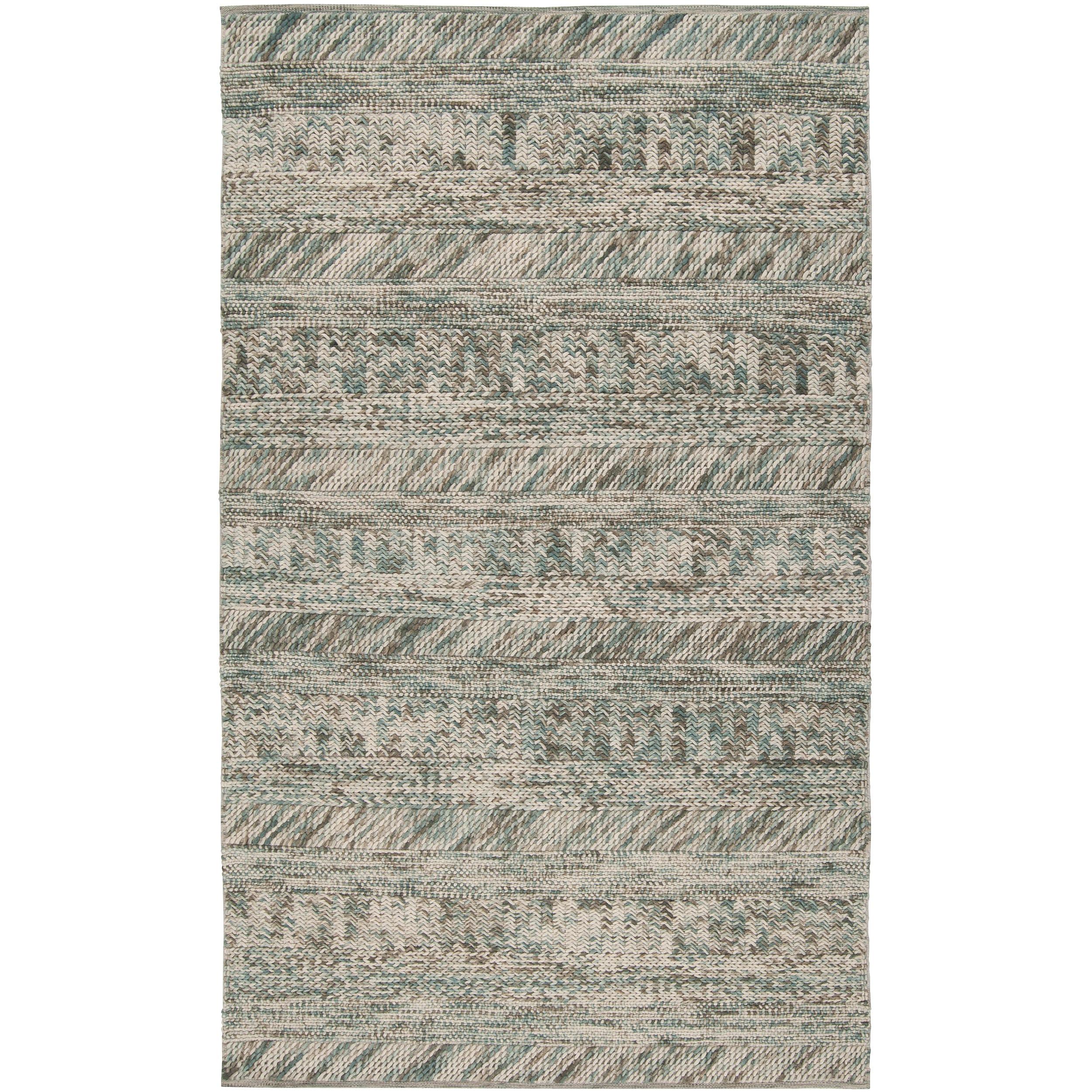 SURYA Hand-woven Green/Brown Casual Dunes Wool Rug (Green...