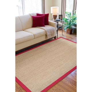 Hand-woven Arcola Natural Fiber Seagrass Cotton Border Rug