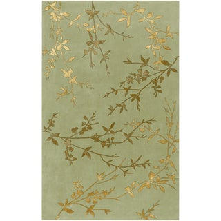 Hand-tufted Beasley Light Green Floral Wool Blend Rug