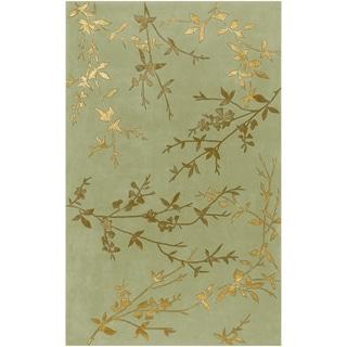 Hand-tufted Beasley Light Green Floral Wool Blend Rug