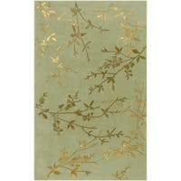 Hand-tufted Beasley Light Green Floral Wool Blend Area Rug (2' x 3')