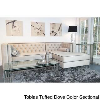 Decenni Custom Furniture 'Tobias' Light Dove Grey Tufted Sectional Sofa