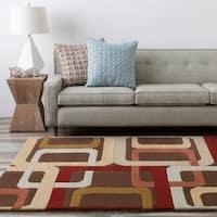 Hand-tufted Martindale Geometric Circles Wool Rug