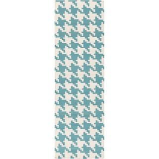 Hand-woven Lozano Houndstooth Wool Rug (2'6 x 8')