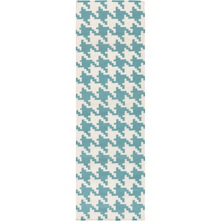 Hand-woven Lozano Houndstooth Wool Area Rug (2'6 x 8') - 2'6 x 8'