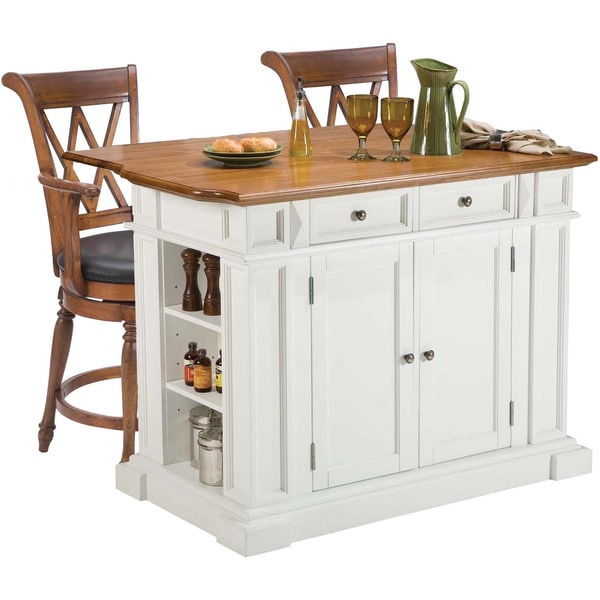 White/ Oak Kitchen Island and Two Deluxe Bar Stools