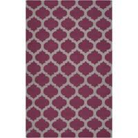 Hand-woven Lompoc Purple Lattice Flatweave Wool Area Rug - 2' x 3'