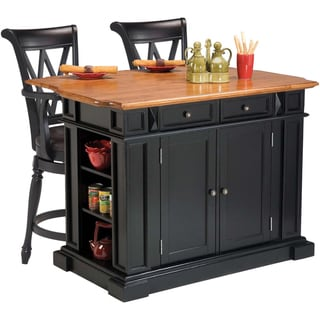 Home Styles Black/ Oak Kitchen Island and Two Deluxe Bar Stools