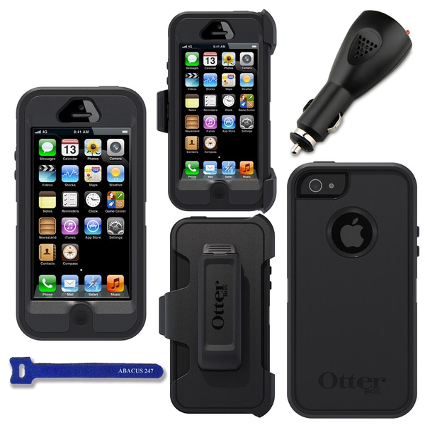 OtterBox Defender Apple iPhone 5 Protector Case / 2000 mAh Charger / Hook and Loop Cable Tie