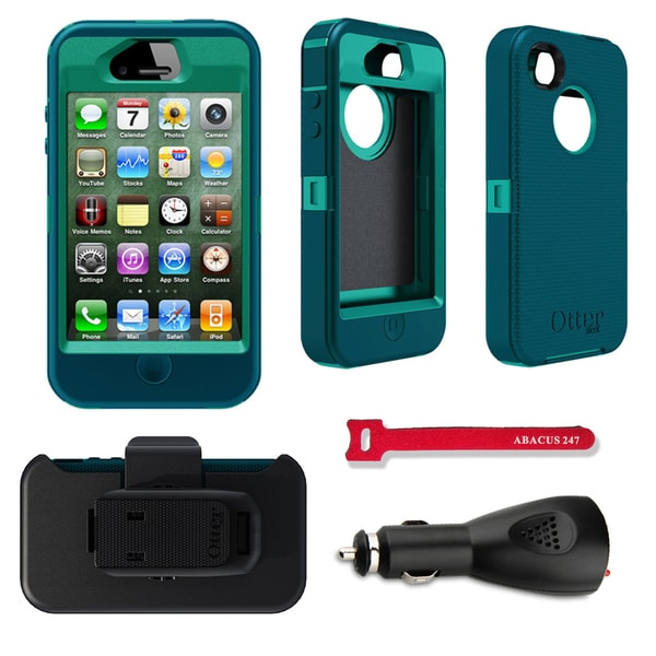 OtterBox Defender Apple iPhone 4/4S Protector Case / Car Charger / Hook and Loop Tie