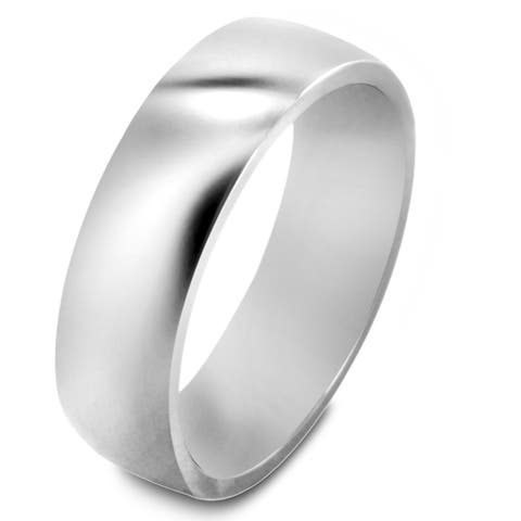 Solid Titanium Men's Polished Traditional Ring