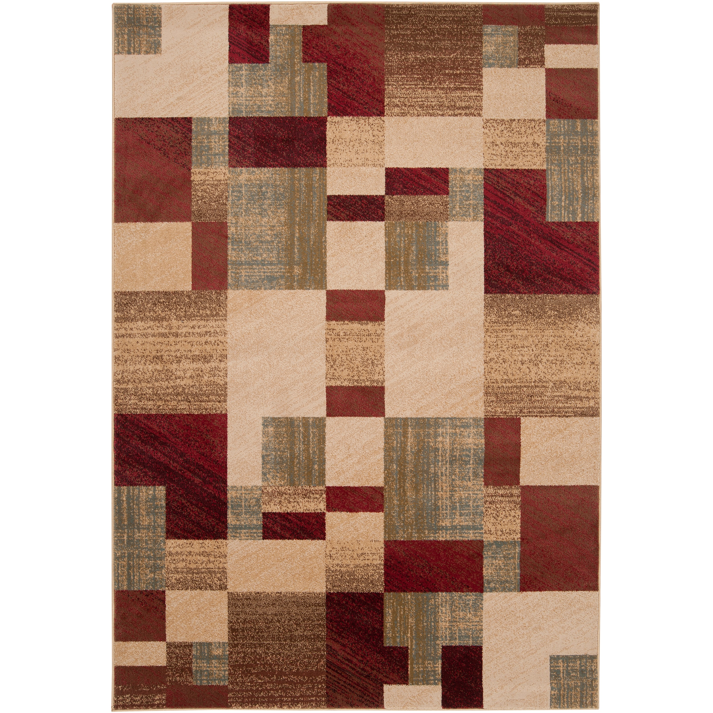 Woven Colfax Geometric Patches Plush Rug (Beige-(4' x 5'5...