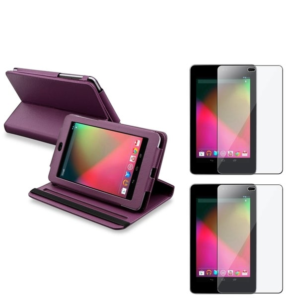 INSTEN Purple Swivel Leather Phone Case Cover/ Screen Protector for Google Nexus 7