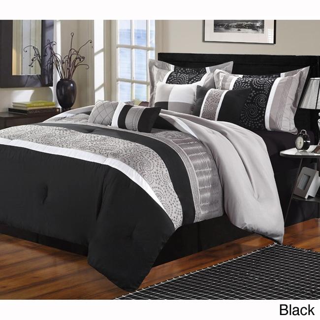 Euphoria Embroidered 8-piece Comforter Set (Black/Grey Qu...