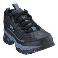 Skechers Men's Energy After Burn Black Leather Athletic Shoes