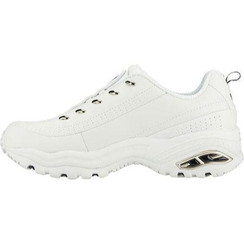 Women's Skechers Premium Premix White Leather/Navy Trim (WNV) - Thumbnail 2