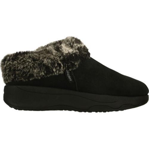 Women's Skechers Tone Ups Spindrift Faux-Fur Black Shoes - Thumbnail 1