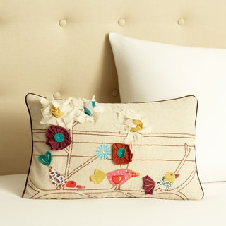 Cottage Home Flower and Bird Decorative Pillow