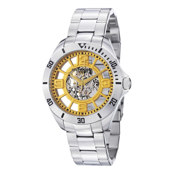 Stuhrling Original Men's Neo Winchester Yellow-Dial Skeleton Stainless Steel Watch