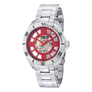 Stuhrling Original Men's Neo Winchester Automatic Red-dial Skeleton Stainless Steel Bracelet Watch