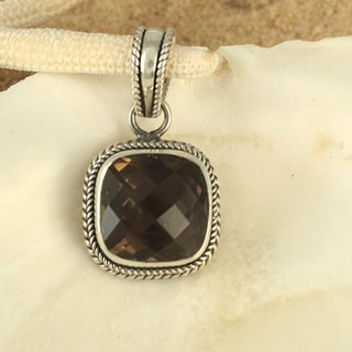 Sterling Silver Smoky Quartz Cable Bali Pendant (Indonesia)