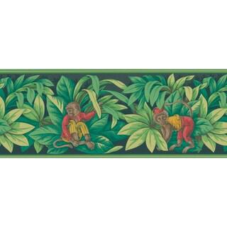 Brewster Monkey Green Leaves Wallpaper Border