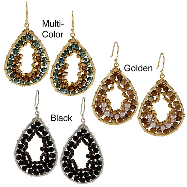 Goldtone or Silvertone CZ and Crystal Hammered Teardrop Fashion Earrings