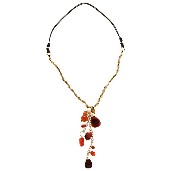 Goldtone Freshwater Pearl Chalcedony Quartz Necklace