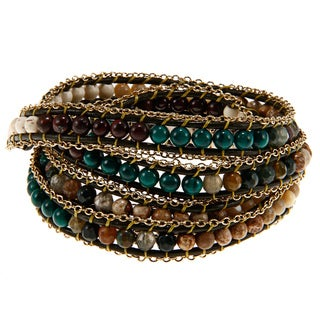 Goldtone Cubic Zirconia Green Wrap Fashion Bracelet