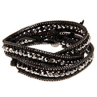 Gun Metal Cubic Zirconia Black Wrap Fashion Bracelet
