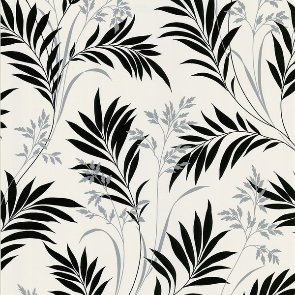 Brewster Black and White Leaves Wallpaper