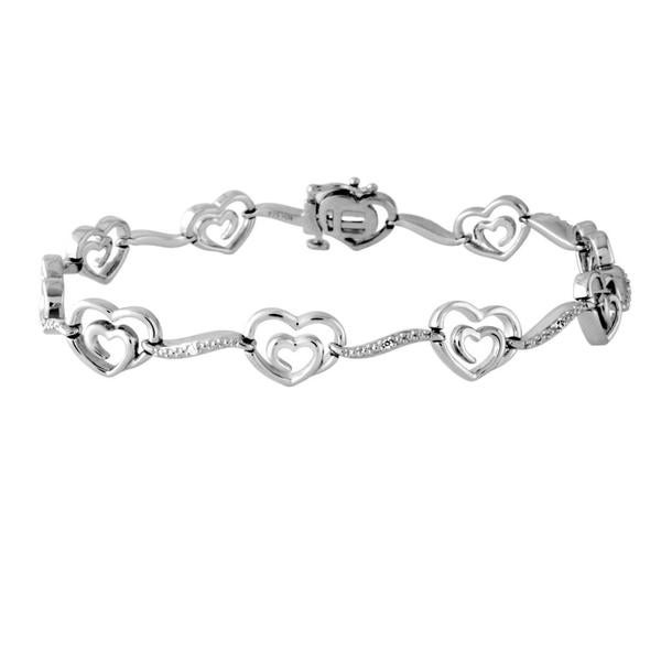 Bridal Symphony  Sterling Silver Diamond Accent Ladies Heart Fashion Bracelet (IJ/I2, I3)