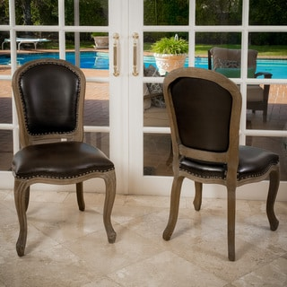Maryland Brown Bonded Leather Weathered Wood Dining Chair (Set of 2) by Christopher Knight Home