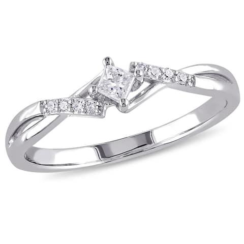 Miadora 10k White Gold 1/10ct TDW Princess-Cut Overlapping Diamond Promise Ring