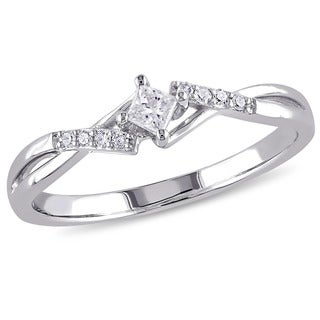 Miadora 10k White Gold 1/10ct TDW Princess-cut Cross-over Diamond Promise Ring (G-H, I2-I3)