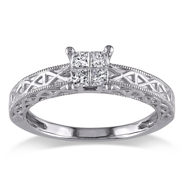 Miadora 10k White Gold 1/4ct TDW Princess Cut Diamond Ring