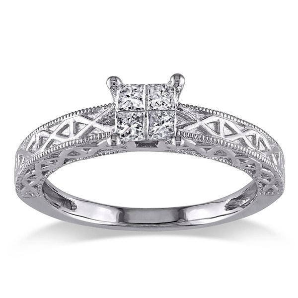 Miadora 10k White Gold 1/4ct TDW Princess Cut Diamond Ring
