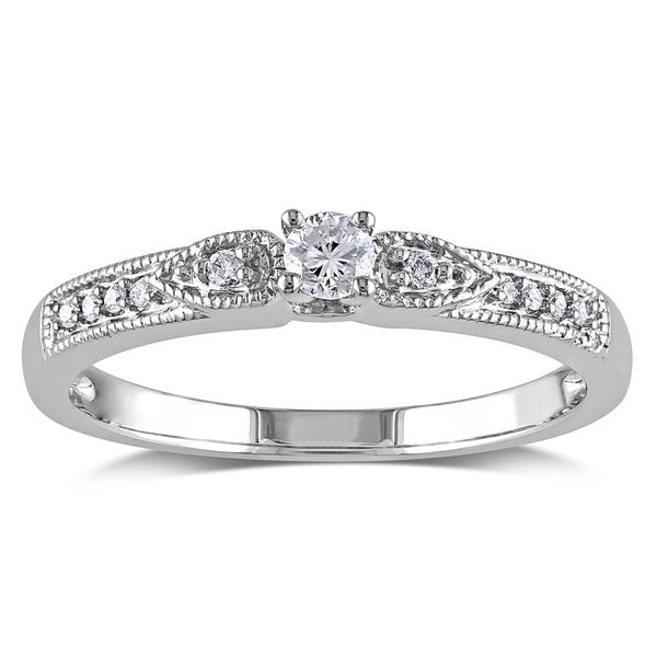 Miadora 10k White Gold 1/6ct TDW Diamond Ring (G-H, I1-I2)