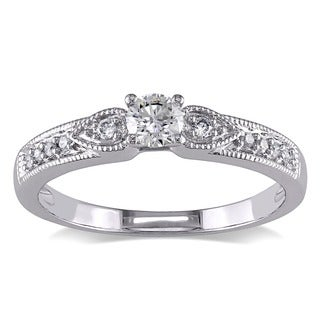 Miadora 10k White Gold 1/3ct TDW Diamond Engagement Ring