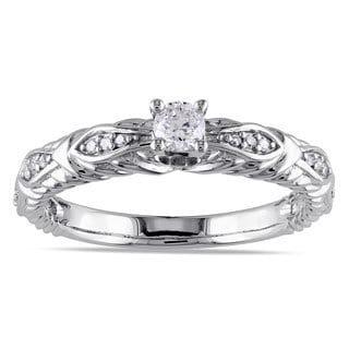 Miadora 10k White Gold 1/4ct TDW Diamond Promise Ring