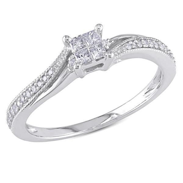 Miadora 10k White Gold 1/5ct TDW Diamond Ring (G-H, I1-I2)