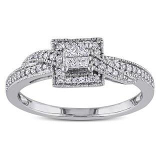Miadora 10k White Gold 1/4ct TDW Princess-cut Diamond Ring