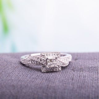 Miadora 10k White Gold 1/4ct TDW Princess-cut Diamond Ring