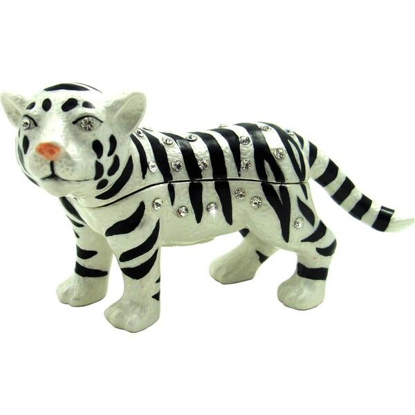 Objet d'art 'Mohini' The White Tiger Trinket Box