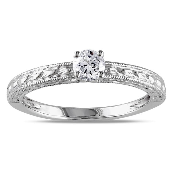 Miadora 14k White Gold 1/3ct TDW Textured Diamond Promise Ring