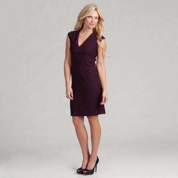 London Times Women's Linear Pucker Knit Dress